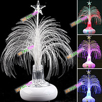 Cheap Wholesale-Free shipping Christmas Tree Design USB Light up Optical Fiber Fairy Lights Crystal Color Changing Flashing Light Desktop Lamp