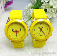Wholesale Cheap Price Cartoon Rubber Duck and Big Face Duck Silicone Watches Geneva Yellow Jelly Band Color Sport Watches Children Watches