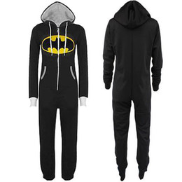Wholesale Unisex Womens Mens Anime Batman Batgirl Onesie All in one Hooded Jumpsuit Overall coveralls romper with Hood Sleepwear S XL XXL