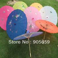 Wholesale Handmade Inches Bamboo Ribs Assorted Colors Chinese Ladies Sun Umbrellas