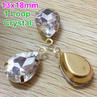 Wholesale 18x13mm Vintage Crystal Clear Color Pear Charm Pedant Faceted Glass Stones with Loop Brass Settings