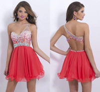 Cheap In Stock Sexy Backless One Shoulder Crystal Homecoming Short Prom Dresses Red Beads Chiffon Sheer Neck Cocktail Party Gowns 2014 SSJ Cheap