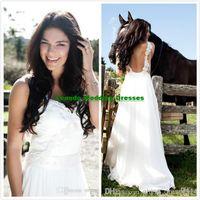 Cheap FX Boho White Wedding Dress Spaghetti Strap Applique Ribbon Bride Gowns Ribbon Sweep Length Chiffon Ruffle Beach Garden Wedding Dresses