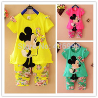 Cheap Summer 2014 Cartoon Minnie Mickey mouse clothes suits Baby Girls shirt +small calico short pants Cute Kids tracksuits