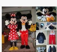 - En stock 2pcs Pareja Mickey Minne ratón Traje de la mascota de la historieta mascotas de la escuela disfraces de personajes masculinos para chicos EMS que envía libremente