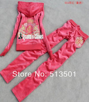 Wholesale new Kid s brand kid children baby girl s velet velour tracksuits hoody pants sport suits children clothing sets