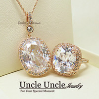 Women's big class - Ultra big K Rose Gold Plated Royal Oval Top Class Cubic Zircon Jewelry Luxury Lady Jewelry Set Necklace Ring