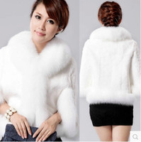 Grosses soldes! 2014 Elegant Rabbit Fur Shawl Femmes Hot Style Naturel Rabbit Fur Poncho Vogue Broderie Laine Manteau Femme