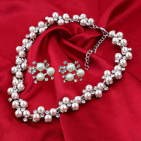 Wholesale Vintage Silver Tone Ivory Pearl Crystal Wedding Bridal Dress Jewelry Set