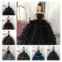 Wholesale Fashionable Classic Black Color Serie Dolls Dresses Western Style Dresses For Dolls Ball Gown Wedding Dress