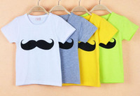 Wholesale 2015 Hot Sales Baby Boys Mustache Short Sleeve Crew Neck T shirt Kids Summer Color Cotton T shirt Children Top T shirt
