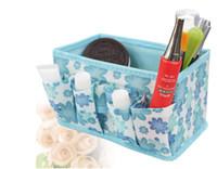 Cheap Free shipping 3pcs lot Fabric Folding Cosmetics Desktop Storage Box Desk collection box 5 colors SW078