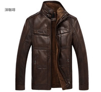 Wholesale 2014 Men s Autumn Winter Casual Fur Collar XL Leather Jacket Man Lether Jackets For Men Jaquetas De Couro Masculina Men Coat