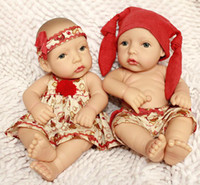 """Cheap 12"""" Cute Super Doll Lifelike Reborn Baby boy and girl dolls two pcs a set Gifts for Children's Day"""
