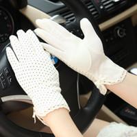 Wholesale 2013 uv sunscreen gloves dot short design slip resistant gloves women s