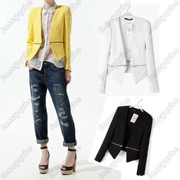 Wholesale Fashion Blazer Women HOT Sale Blazer Woman None Button Long Sleeve Zipper V NECK Slim Suit Jacket drop shipping WF