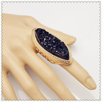 Cheap New Fashion jewelry cool huge black Lava stone finger ring for women girl lovers' gift R1087