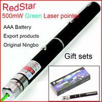 Wholesale RedStar mw green Starry laser pointer AAA Battery Red laser pen flashlight export Gift set retail packing teacher pen