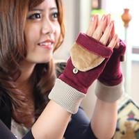 Cheap 16 winter wool cashmere gloves female semi-finger flip gloves female yarn thermal gloves