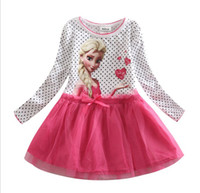 white cotton dress - Elsa Anna Baby Girls Cotton Dress Froze Nova Autumn Polka Dots Dressy Dresses Tulle Hem Girl Children Clothes White Green K1410