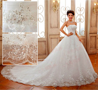 A-Line Model Pictures 2016 Fall Winter Good Quality Luxury Princess Lace Embroidery Long Train Bow Bridal Married Wedding Dresses Custom Made Plus Size Cathedral Wedding Gown