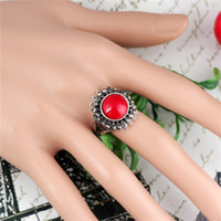 metal sunflower - 2014 New Arrival mm Sunflower Pattern Metal Inlay Turquoise Jewels Ring Two Colors