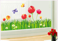 Wholesale Home Decor Sticker Art Baseboard Removable Wall Decal Oil Painting Tulip Flower Like Art DIY removable wall sticker Baseboard