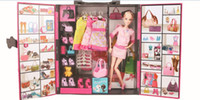 Wholesale Toy Doll Closet wardrobe garderobe clothes press almirah Fashion accessory Christmas Birthday gift for girls YS1306J K