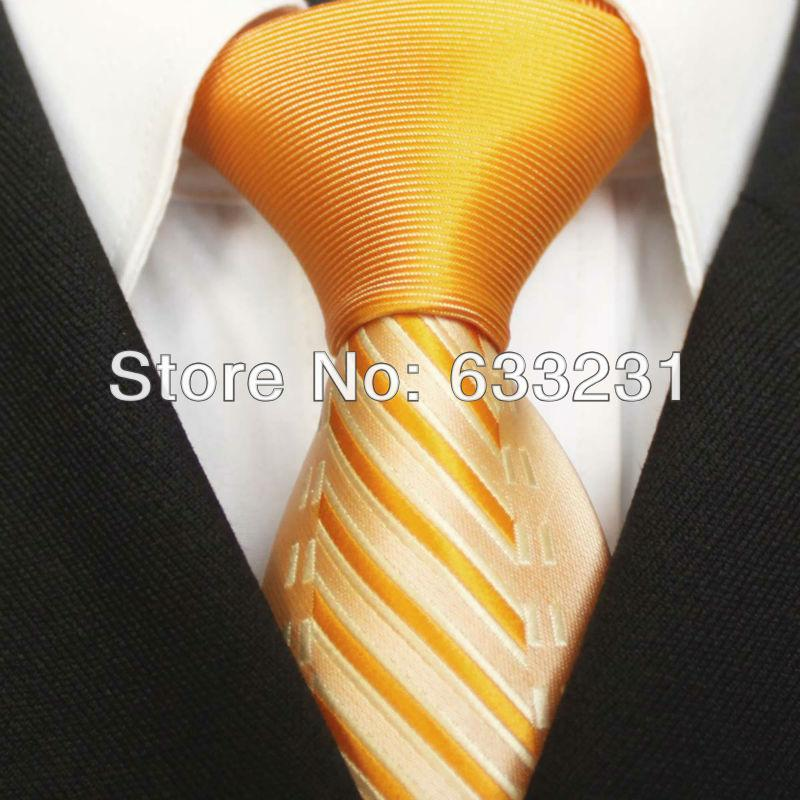 Gros-Yibei Ties orange Knot Contraste Jaune avec des oranges Stripes Tie Cravate