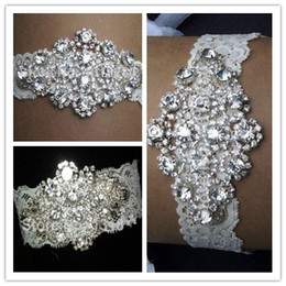 Wholesale Real Sexy Lingerie Rhinestone Lace Pair Bridal Garters Belt Bridal Wedding Garter Fashion Wedding Accessories Women