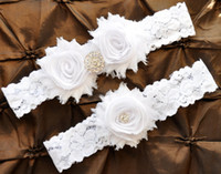 garter belts - 1 Pair ON SALE Bridal White Lace Garter Keepsake Garter Toss Shabby Chiffon White Wedding Garter Belt Set With Flowers