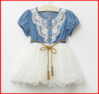 belted denim dress - hot sale New girls Denim Net Yarn tutu dresses Girl Sweet ruffule Dress With Belt Short Sleeve Baby Kid s Princess Dress