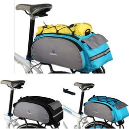 Wholesale 2014 New Black or blue Roswheel Cycling Bicycle Bike Pannier Rear Seat Bag L Rack Trunk Shoulder Handbag Multifunctional bag