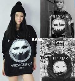 Wholesale Fashion WY New Harajuku style pullovers cat face print sweatshirt long sleeve loose hoodies BLACK M L XL