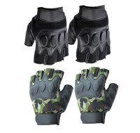 Wholesale Outdoor Sports Tactical Bike Bicycle Cycling Soft Leather Half Finger Gloves Soft PU Black Camouflage Green