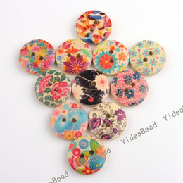 Wholesale Hot Sale Mixed Colorful Flowers Wooden Buttons Fit Clothes Accessories Have in Stock
