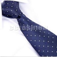 Wholesale HOT NAVY BLUE MEN DOT TIES SILK SLIM NECK TIES FOR MEN BUSINESS WEAR FATHER TIES