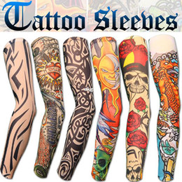 Wholesale New Stretch Nylon Fake Tattoo Sleeves Arms Fancy Dress Uk Designs E401