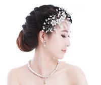 Wholesale Cheap Sex Wedding Bridal Bridesmaid Ladies Girl White Pearl Statement Beaded Crystal Rhinestone Pendant Necklace Collar Earrings Jewelry Set