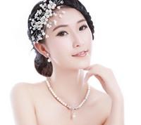 Wholesale 2014 Fashion Wedding Bridal Bridesmaid Ladies Girl Pearl Statement Beaded Crystal Rhinestone Pendant Necklace Collar Earrings Jewelry Set