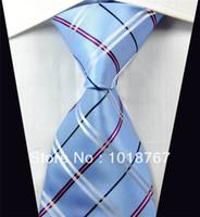 Al por mayor-NT275 AZUL ROSA DE GAZA PRINT 2013 Moda Marca jacquard de seda tejida para hombre de negocios corbata lazo de los hombres # 039; s Casual corbata de los hombres
