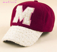 Wholesale New autumn and winter fashion lovely The new woman M letter winter lovers plush cap baseball cap