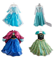 Cheap 1pc Frozen Dress Elsa Anna For Girl Princess Cosplay Party Dresses Cartoon Red Cape Brand Girls Children Clothes Kids Drop Shipping