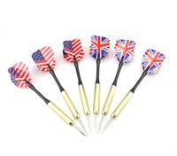 Wholesale 6 Copper Steel Tip Darts Needle UK USA National Flag Dart Flights Play Dart Steel Throwing Toy x UK x USA cm g