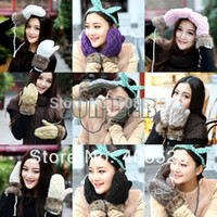 Wholesale 9Pairs Ladies Women s Winter Snow Mittens Knitted Wool Warm Fur Gloves Colors