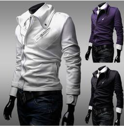 Wholesale Lowest Price cotton Men leisure coat Thin body Zipper lapel design Men fashion jacket color size M L XL XXL
