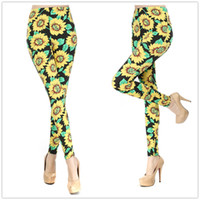 Wholesale 2014 New Summer Fashion Causal Black Sunflower Milk Silk Print Pants Polyester Sexy Leggings For Women