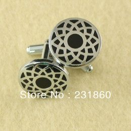 Wholesale 1Pair Beautiful Round Mens Stainless Steel Tile Shirt Cufflinks Groom Sew On Craft