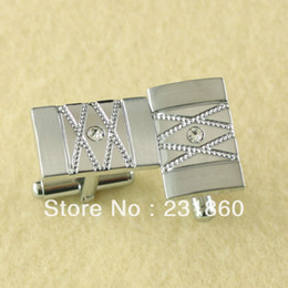 Wholesale 1Pair White Mens Stainless Steel Tile Shirt Cufflinks Groom Favour
