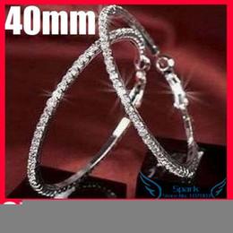 Wholesale 30 40 50 60 70mm Paparazzi Basketball Wives Hoop Earrings Crystal Rhinestone Hoop Earrings - SKBTQ